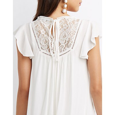 Lace & Crochet-Trim Shift Dress