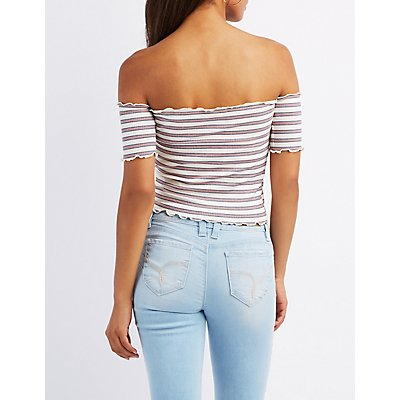 Striped & Ribbed Off-The-Shoulder Crop Top