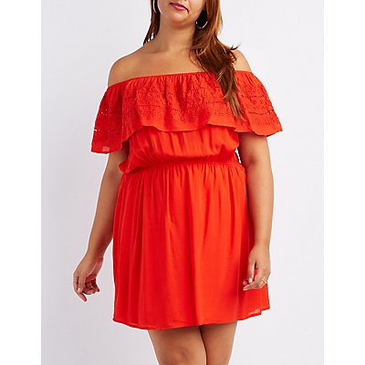 Plus Size Embroidered Ruffle Off-The-Shoulder Skater Dress