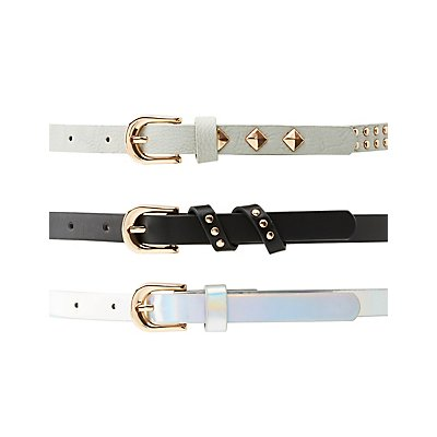 Studded, Holographic, & Faux Leather Belts - 3 Pack