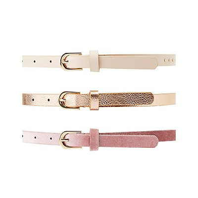 Metallic, Studded & Velvet Belts - 3 Pack