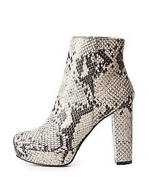 Printed Faux Leather Ankle Booties