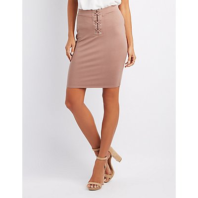 Lace-Up Detail Pencil Skirt