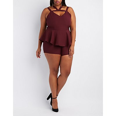 Plus Size Caged Cut-Out Peplum Romper