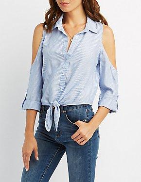 Striped Cold Shoulder Button-Up Shirt