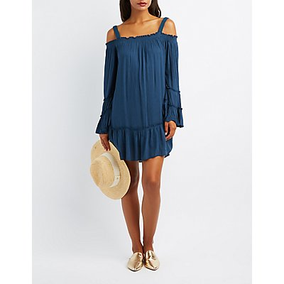 Ruffle Cold Shoulder Shift Dress