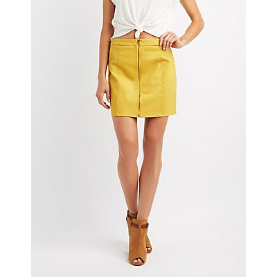 Twill Zip-Front Skirt