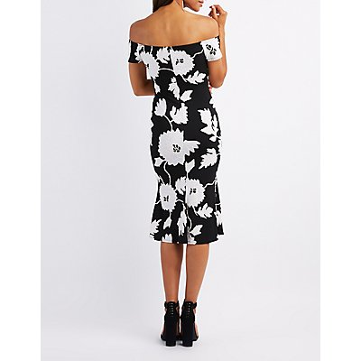 Floral Off-The-Shoulder Midi Dress
