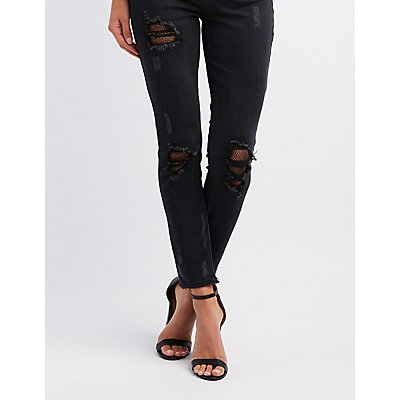 Refuge Fishnet-Inset Destroyed Skinny Jeans