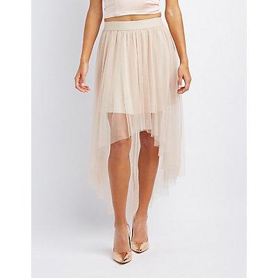 Mesh High-Low Maxi Skirt