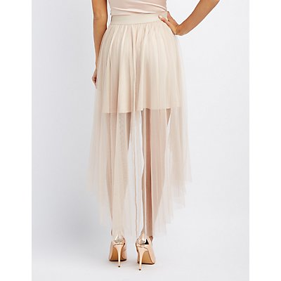 Mesh High-Low Maxi Skirt