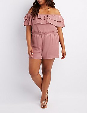 Plus Size Tiered Off-The-Shoulder Romper