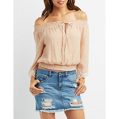 Embroidered-Trim Keyhole Off-The-Shoulder Top