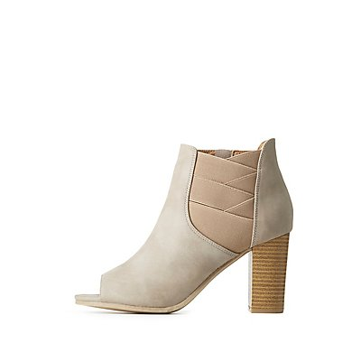 Gored Peep Toe Ankle Booties