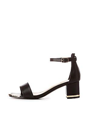 Metal-Trim Two-Piece Dress Sandals