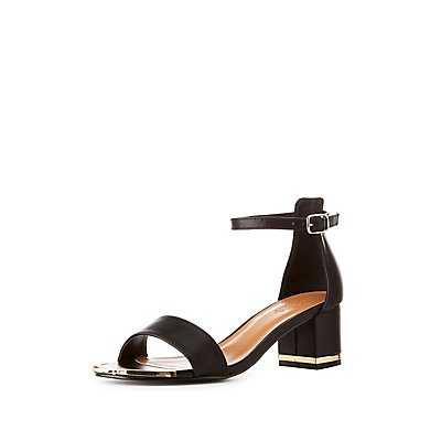 Metal-Trim Two-Piece Dress Sandals