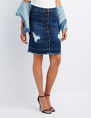 Machine Jeans Destroyed Denim Skirt