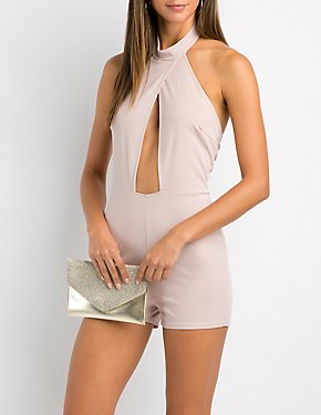 Mock Neck Halter Cut-Out Romper