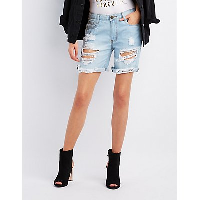 Machine Jeans Destroyed Denim Bermuda Shorts