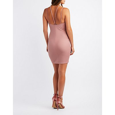 Strappy O-Ring Envelope Bodycon Dress