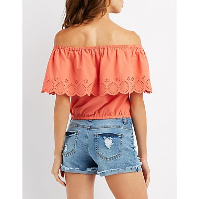 Eyelet Ruffle Off-The-Shoulder Crop Top