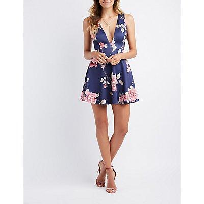 Floral Plunging Lace-Up Back Skater Dress
