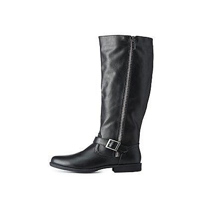 Bamboo Zipper-Trim Moto Riding Boots