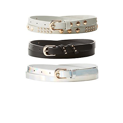 Plus Size Studded, Holographic, & Faux Leather Belts - 3 Pack