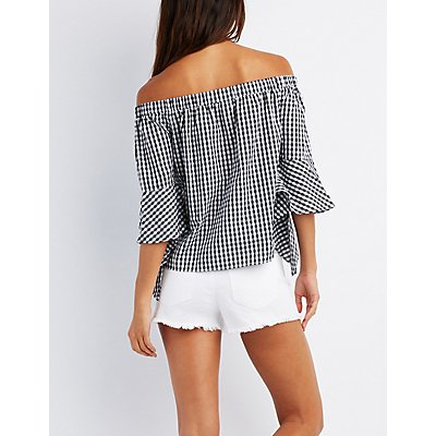 Gingham Off-The-Shoulder Bell Sleeve Top