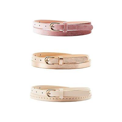 Plus Size Metallic, Studded & Velvet Belts - 3 Pack