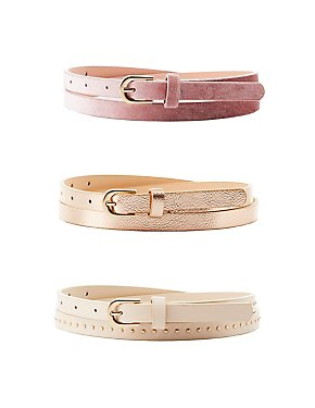 Plus Size Metallic, Studded & Velvet Belts - 3 Pack