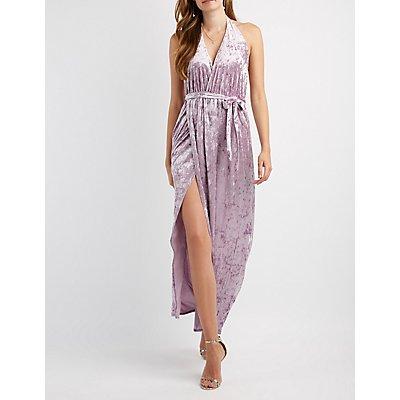 Velvet Halter Maxi Dress
