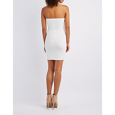Corset-Detail Strapless Bodycon Dress