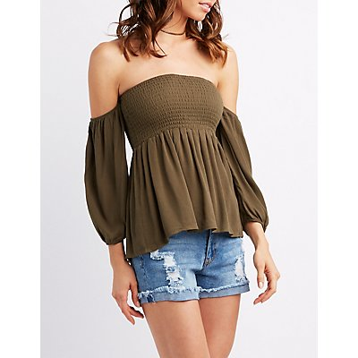 Smocked Off-The-Shoulder Peplum Top