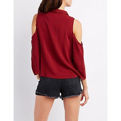 Cold Shoulder Button-Up Top