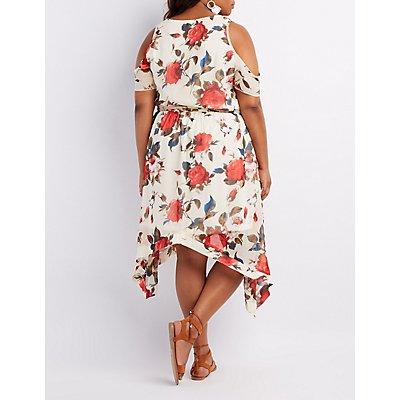 Plus Size Floral Cold Shoulder Midi Dress