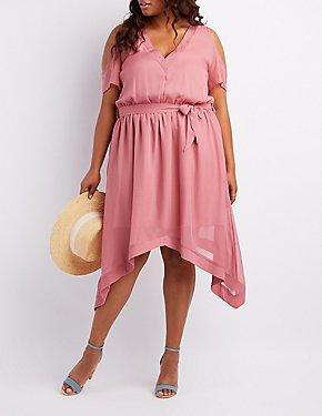 Plus Size Cold Shoulder Midi Dress