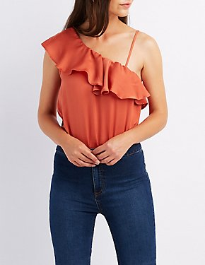 One-Shoulder Ruffle-Trim Bodysuit