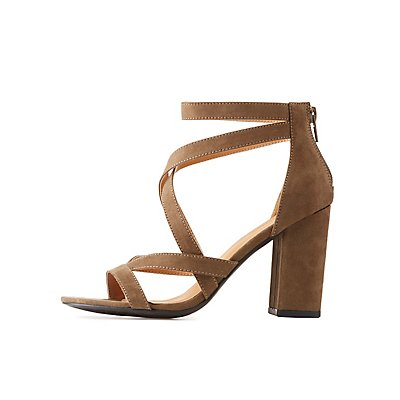 Strappy Caged Block Heel Sandals