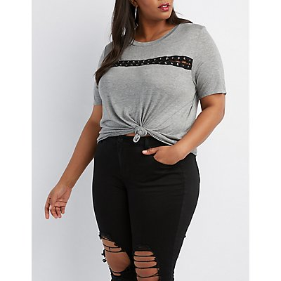 Plus Size Lace-Up Detail Tee