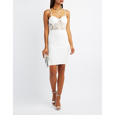 Lace Bodice Bustier Bodycon Dress