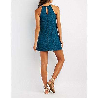 Lace Crochet-Yoke Shift Dress