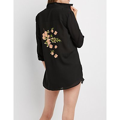 Floral Embroidered Button-Up Shirt