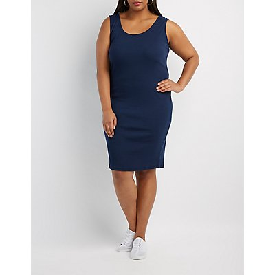 Plus Size Ribbed Bodycon Dress