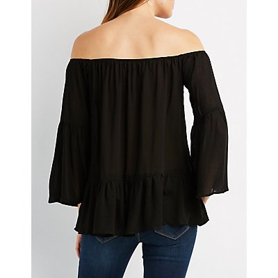 Ruffle-Trim Bell Sleeve Off-The-Shoulder Top