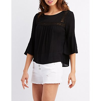 Crochet-Inset Bell Sleeve Top