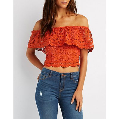 Floral Crochet Off-The-Shoulder Ruffle Top