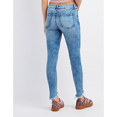 Refuge Acid Wash Destoryed Skinny Jeans