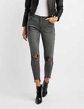 Refuge Velvet-Trim Destroyed Skinny Jeans