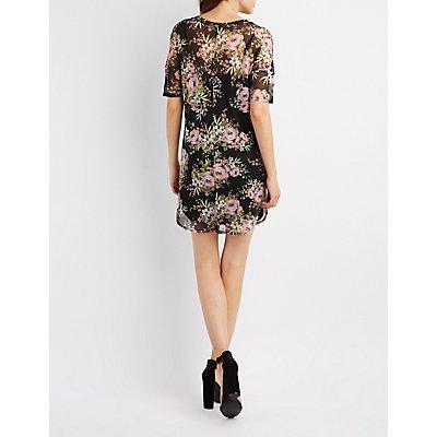 Floral Mesh Shift Dress